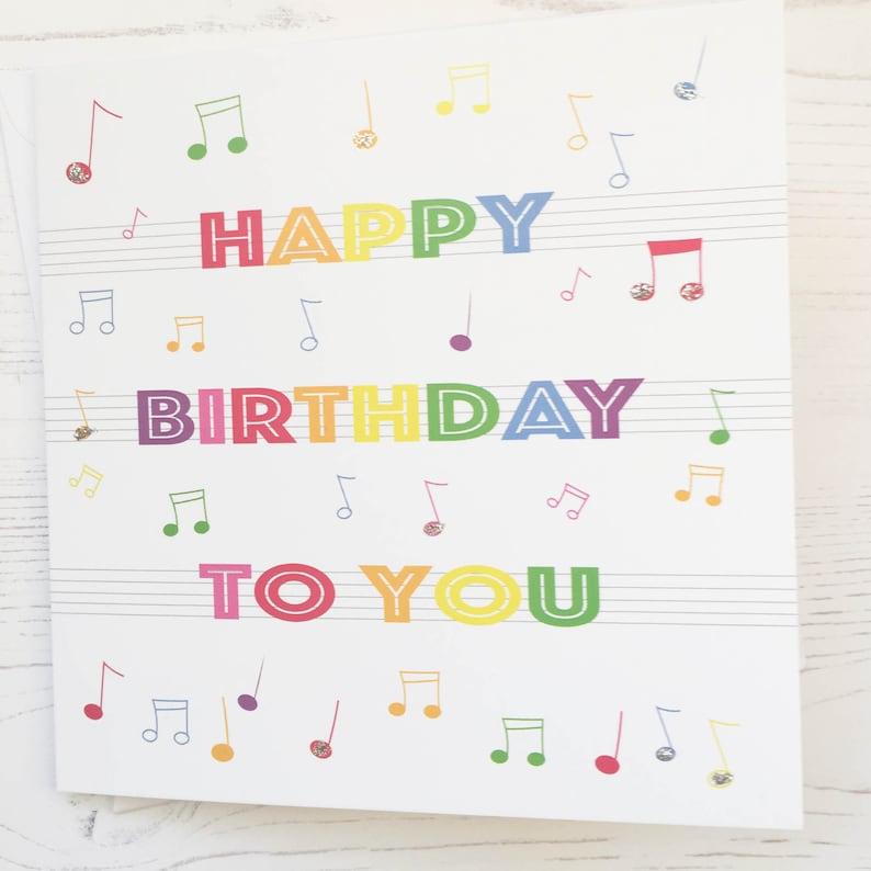 Music Notes Birthday Card Rainbow Musical