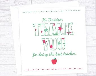 Thank you teacher card - thank you card with stars - end of term thanks card