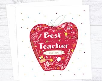 Personalised teacher card - Teacher thank you card - Best teacher card - Apple teacher card - end of term card - Thank you teacher card