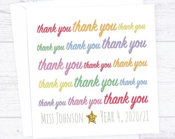 Many thanks Thank you card - thank you greetings card - end of term thanks card