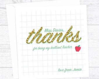 Glittery thanks end of term teacher thank you card