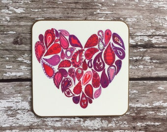 Love heart coaster - red heart coaster - Paisely heart coaster - designer coaster - painted coaster
