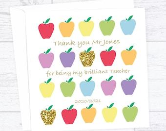 Personalised teacher card - Apples Teacher thank you card - Best teacher card - end of term card - Thank you teacher card
