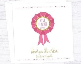 Teacher thanks card - rosette for teacher thanks card - teacher deserves an award