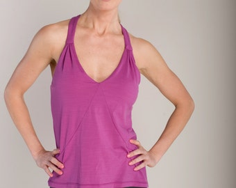 Radiant Orchid - Womens Bra Tank Top - Eco-Friendly Natural Breathable Merino Jersey by Vielet Performance Merino