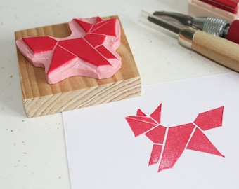 Hand-carved rubber stamp - Origami Fox