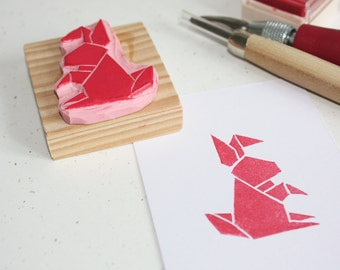 Hand-carved rubber stamp - Origami Rabbit