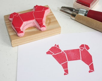 Hand-carved rubber stamp - Origami Dog