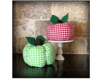 Fabric Gingham Apple, Apple Decor, Apple Farm, Teacher Apple, Teacher Gift, Apple Lover, Granny Smith Apple, Red Delicious Apple, Apples