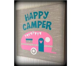 Happy Camper, Vintage Camper Sign, Happy Camper Art, Camper Art, Shabby Chic, Home Decor, Wood Sign