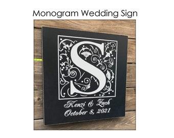 Monogram Wedding Sign, Established Date Sign, Custom Wedding Sign, Initial Sign, Wedding Gift, Wedding Day Sign