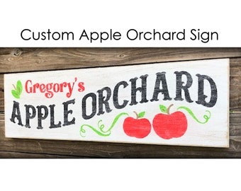 Custom Apple Orchard Sign, Wood Apple Sign, Apple Decor, Apple Orchard Sign Personalized, Farmhouse Sign, Farm Style Decor, Hand Painted
