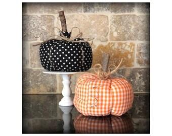 Fabric Pumpkin, Polka Dot Pumpkin, Orange Gingham Pumpkin, Fall Decor, Stuffed Pumpkins, Pumpkin Patch, Pumpkin Farm, Harvest Decor