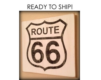 Route 66 Wood Sign, Retro Sign, Rustic Wood Sign, Highway Sign, Transportation, Vintage Road Sign, Route 66 Decor, Wall Sign, Will Customize