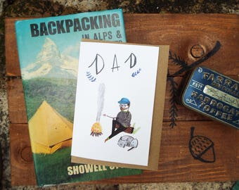 Camping Dad Fathers Day/ Birthday Card