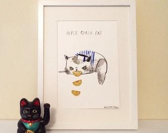 Super Gyoza Cat Original Illustration