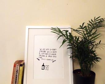 Hemingway Quote Original Illustration