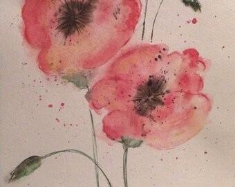 Original watercolor poppies