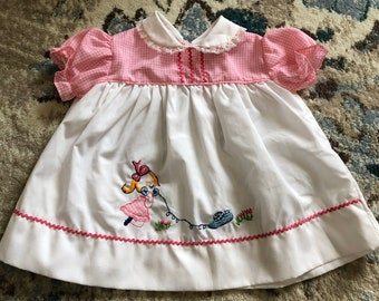 vintage infant spring summer Easter dress in pink and white FREE SHIPPING ed7b9bc88b26