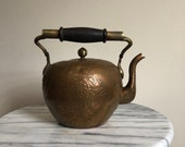 vintage boho brass and copper Chinese teapot