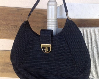 4dcf146ba9c SALE Vintage Black woven hobo style purse with brass hardware
