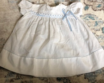 b643b50b8 vintage infant dress white with blue ribbon perfect for Spring, or Easter  free shipping.