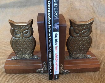 Pair of funky wood and brass vintage Enesco owl bookends