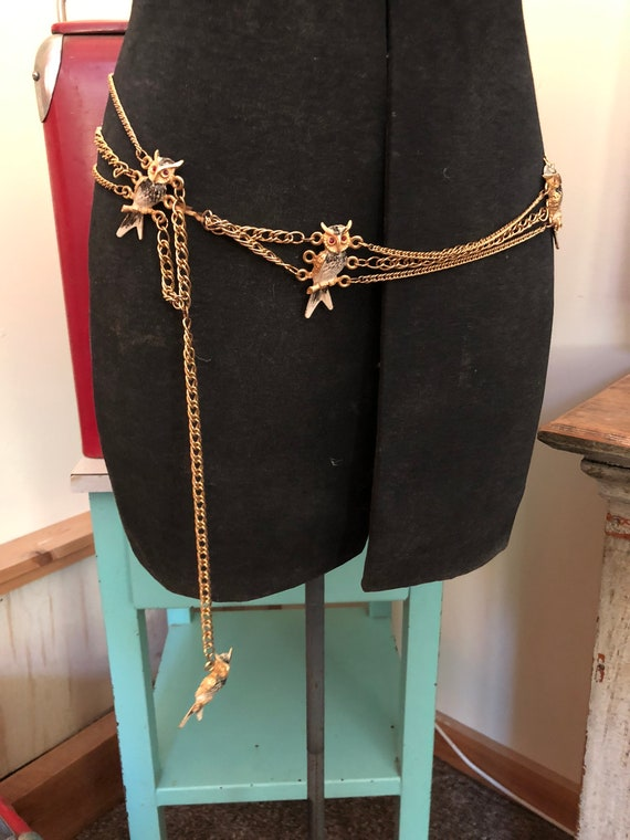 Amazing vintage owl belt gold tone metal chain ena