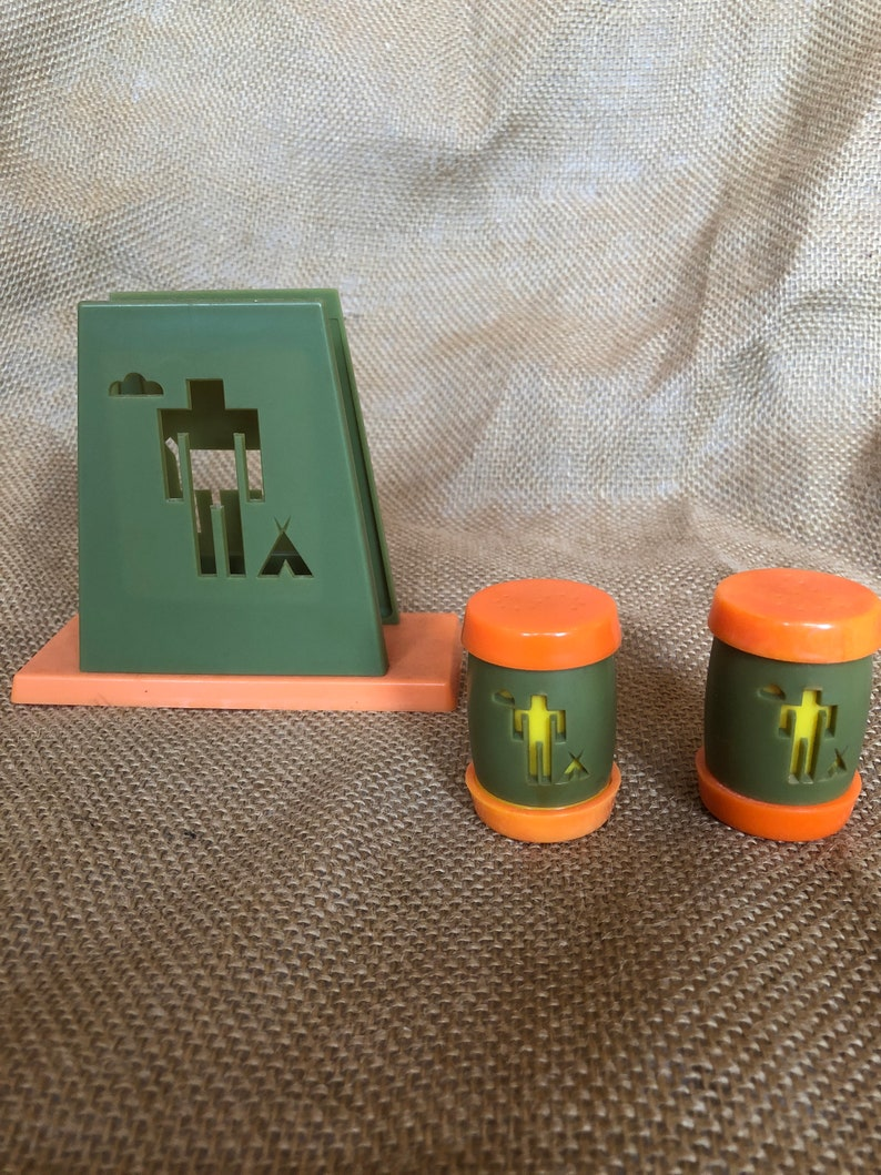 Vintage 1960s avocado and orange St Labre Indian Native American School napkin holder and salt and pepper