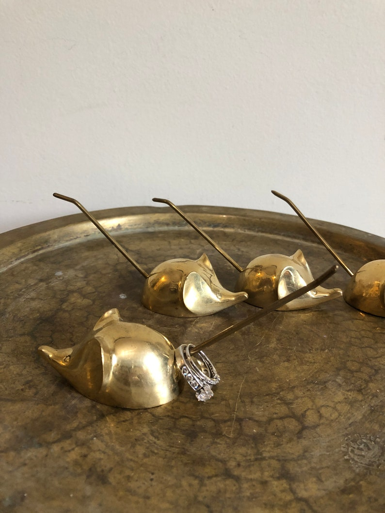 vintage brass mouse ring or receipt holders