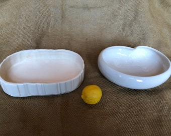 Pair of vintage white shallow chippy cottage chic bulb or succulent planters