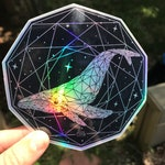 Holographic Sacred Whale Sacred Geometry Sticker - Space Sticker - Laptop Sticker - Car Sticker - Waterproof Vinyl Sticker