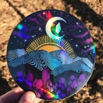 "Holographic Appalachia Mountain Range Asheville 4"" sticker"