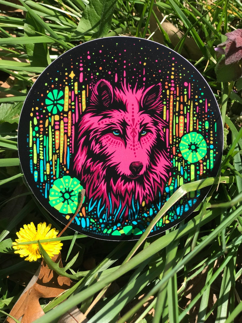 Colorful 4 Floral Wolf Sticker  Psychedelic Trippy image 0