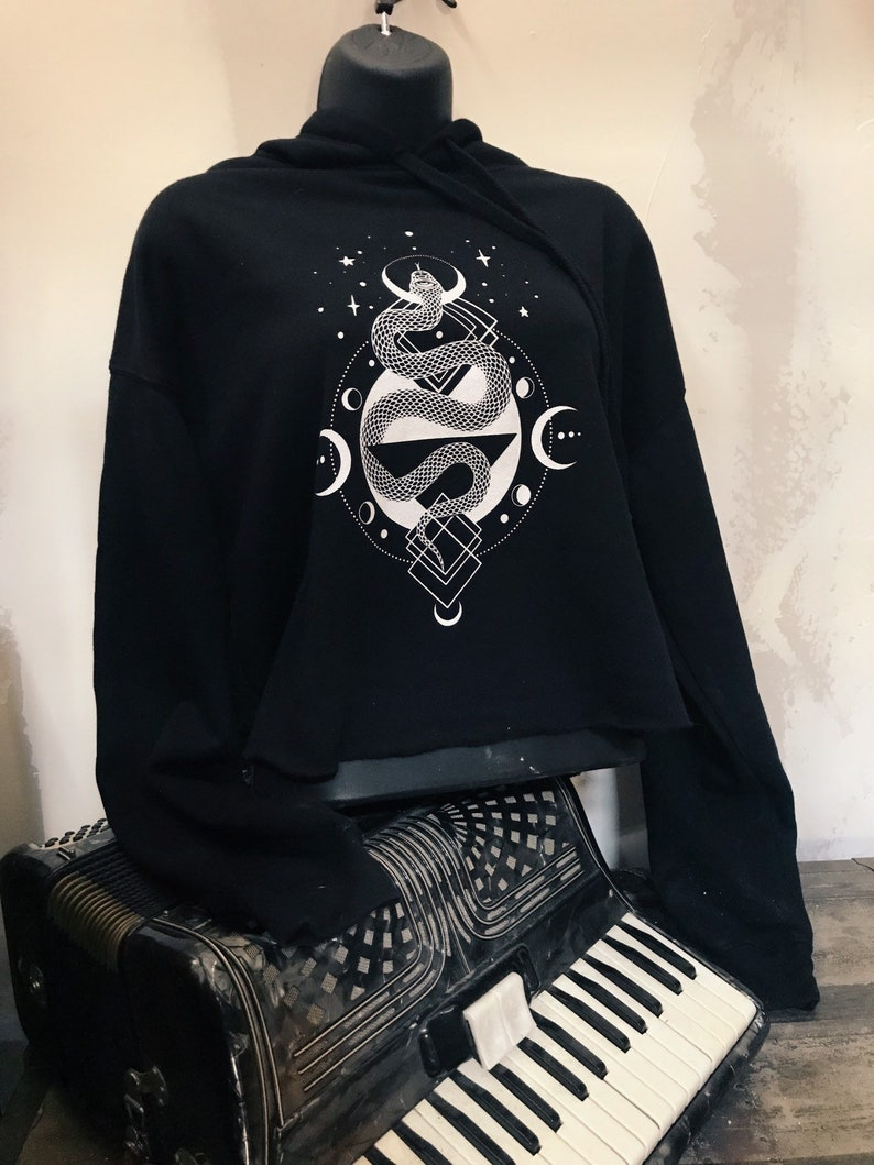 Slither Black Pullover Cropped Hoodie image 0
