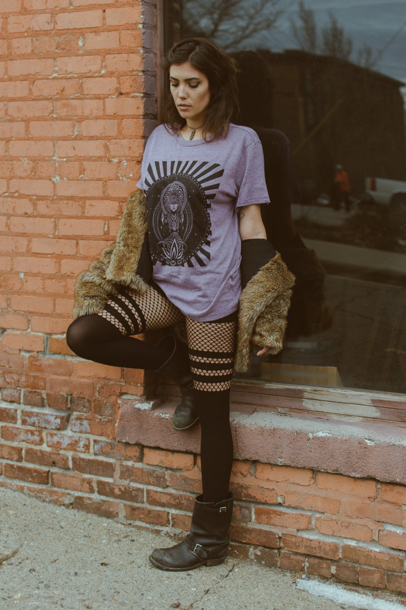 Portal Crew Neck Cotton Tee  Orchid Light Purple Psychedelic image 0