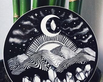 "Appalachia Mountain Sticker Black and White 4""  Trippy Mountain Sticker Galaxy Moon Night Sky Waterproof Vinyl Sticker"