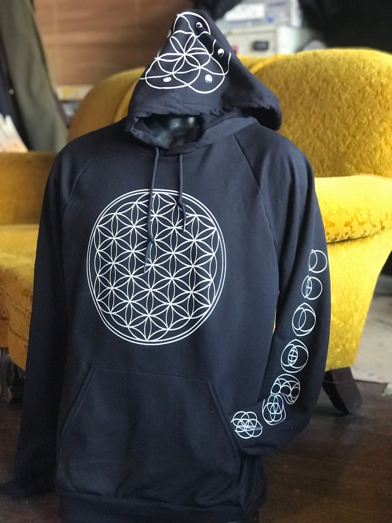 Sacred Geometry Flower of Life Seed of Life Unisex Pullover image 0