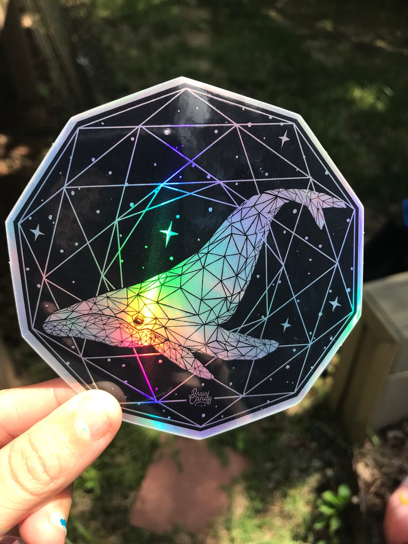 Holographic Sacred Whale Sacred Geometry Sticker  Space image 0