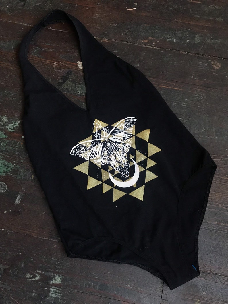Sacred Butterfly Bodysuit  Sacred Geometry Black and Gold image 0