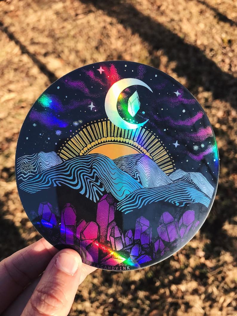 Holographic Appalachia Mountain Range Asheville 4 sticker image 0