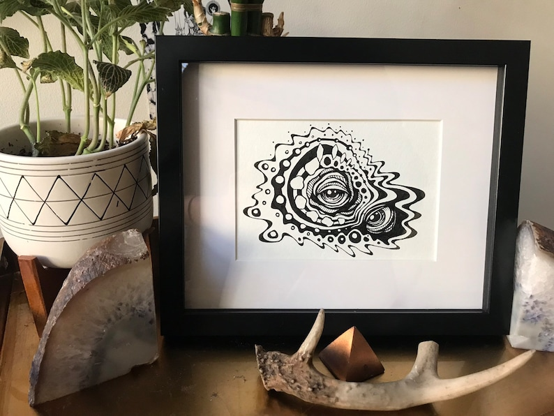Framed Pen and Ink Original Drawing  One of a Kind Brain image 0