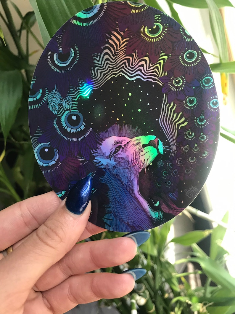 Holographic Colorful 5 Lion Sticker  Psychedelic Trippy image 0