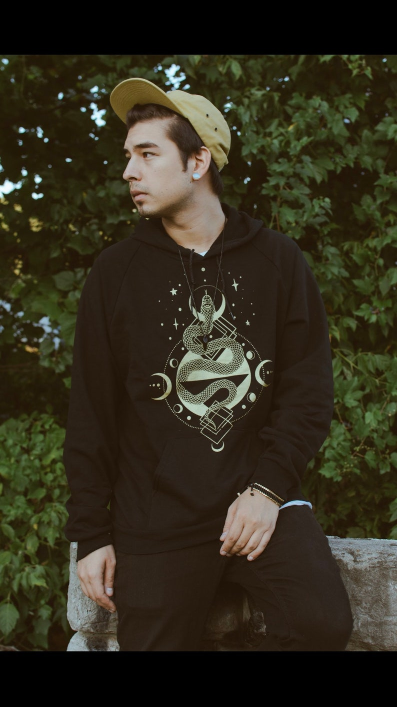 Slither Black and Gold Unisex Pullover Hoodie  Snake Moon image 0