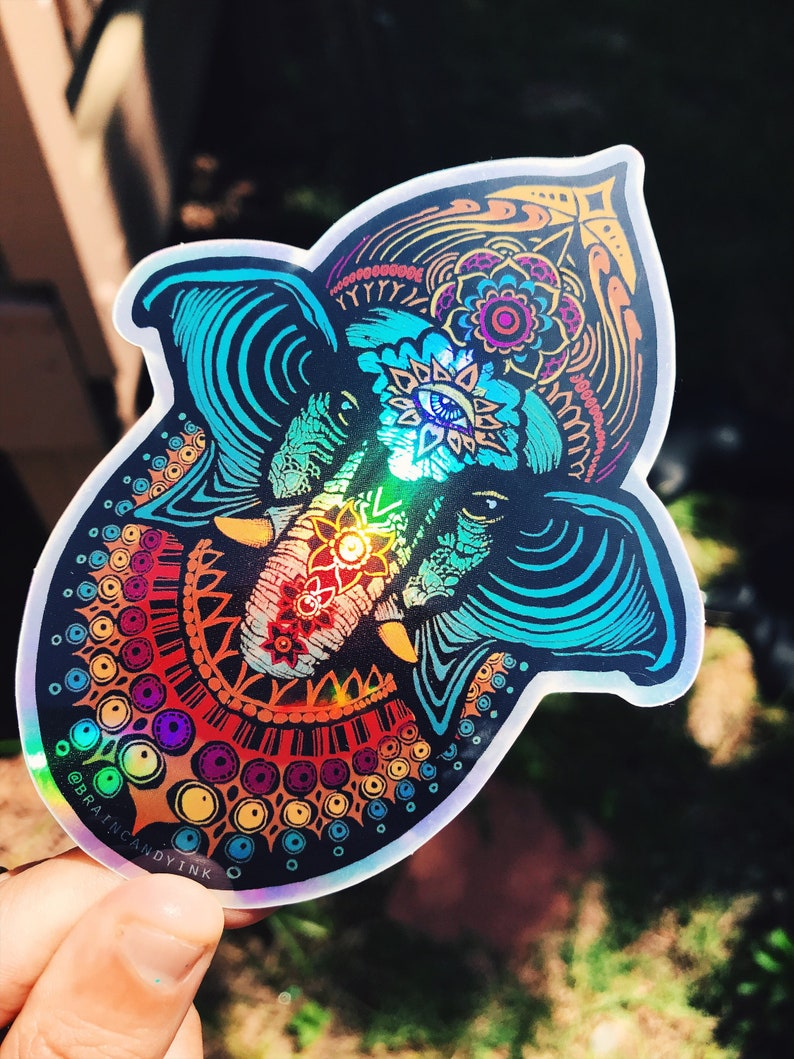 Holographic Colorful 5 Ganesh Elephant Sticker  image 0