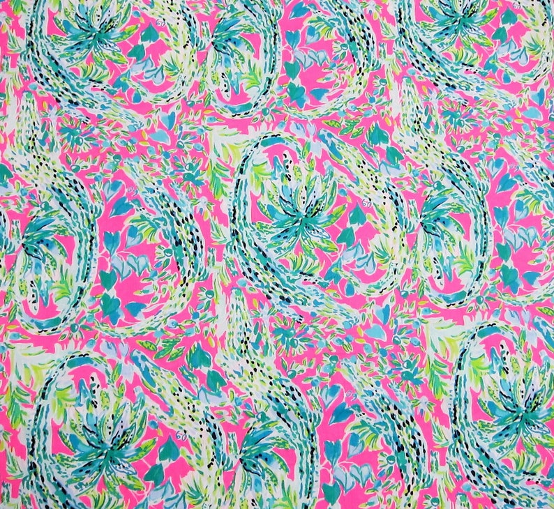 Lilly Pulitzer DOBBY Cotton Fabric ~ Aboat Time ~ 1 yard