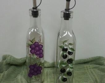 Hand-painted Oil & Vinegar Bottle Set