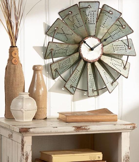SHIPS FREE! Farmhouse Decor Windmill Clock