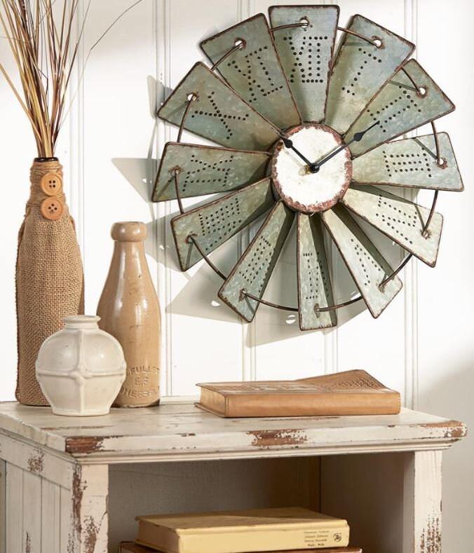 FLAT SHIPPING! Farmhouse Decor Windmill Clock
