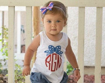 Girls 4th of July Shirt, Girl's Monogram Shirt, Monogram, Patriotic Shirt, Fourth of July Shirt, 4th of July, Red White And Blue